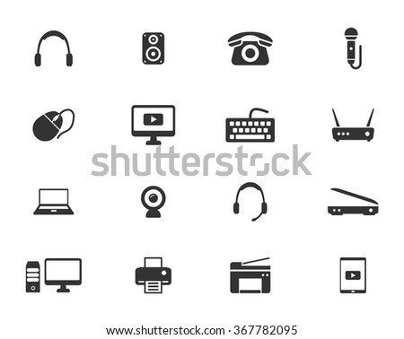 Devices simple icons for web - stock vector