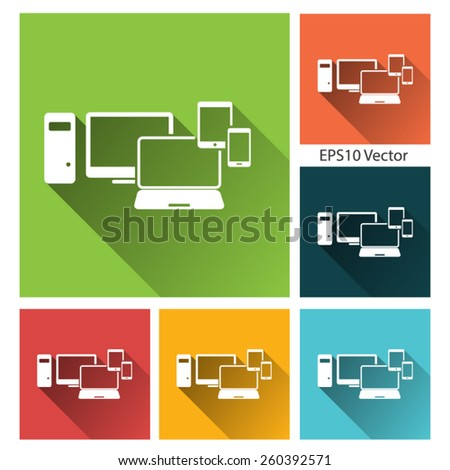 Devices: smartphone, tablet, laptop and desktop computer -  long shadow flat icon set for app and web site. EPS10 vector - stock vector