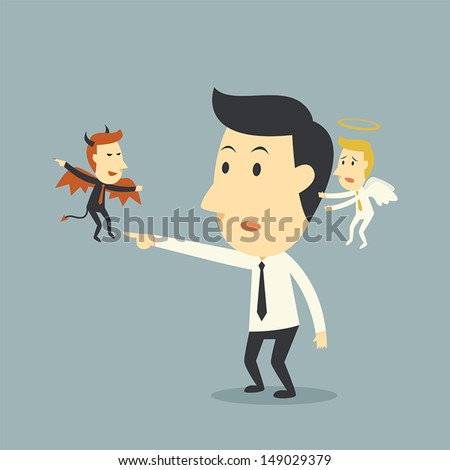 Devil and Angel with Businessman - stock vector
