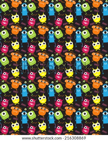 devil and monster  halloween  patterns. Endless texture can be used for wallpaper, pattern fills, web page,background,sur face - stock vector
