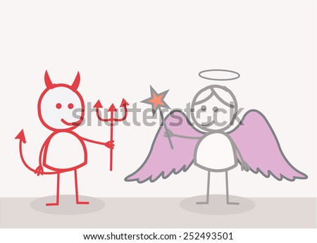 Devil Angel - stock vector
