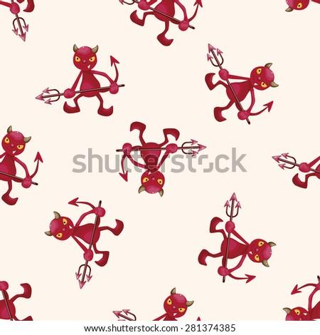 devil , cartoon seamless pattern background - stock vector
