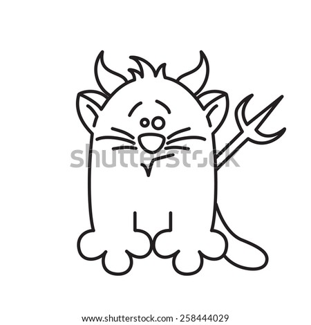 devil cat vector icon - stock vector