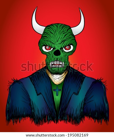 Devil demon Halloween monster character with a devilish evil grin as a spooky hot and spicy concept with a green skin horned beast creature and dangerous fangs on a red background / T-shirt graphics - stock vector