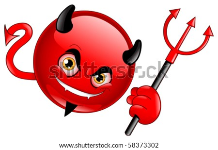 Devil emoticon - stock vector