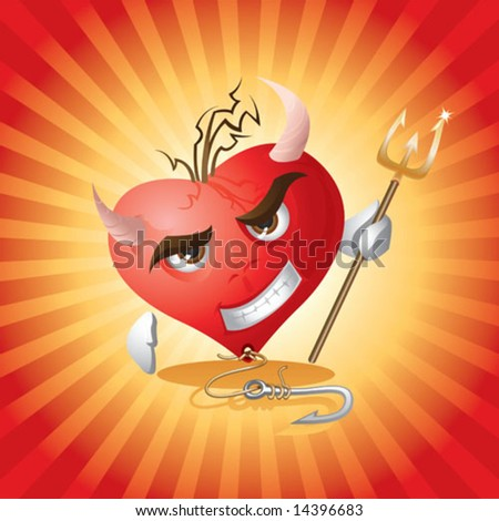 Devil Heart - stock vector