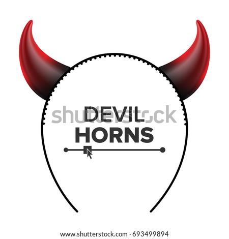 Devil Horns Vector Head Gear Red Stock Photo Photo Vector
