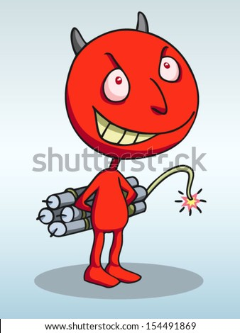 Devil terrorist carrying a dynamite bomb. - stock vector