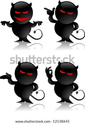 devil toy gestures - stock vector