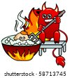 Devil with pitchfork which pushes in boiling tub of the little man - stock photo