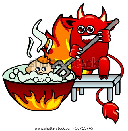 Devil with pitchfork which pushes in boiling tub of the little man - stock vector