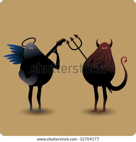 Devil with trident and a musical angel with guitar - stock vector