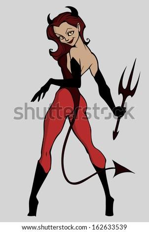 Devil woman - stock vector