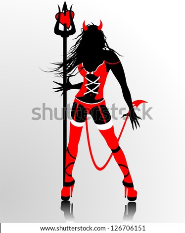 Devil woman silhouette - stock vector
