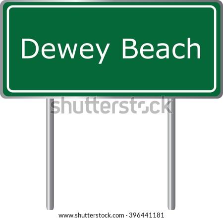 Dewey Beach , Delaware , road sign green vector illustration, road table, USA city - stock vector