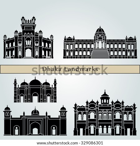 Dhaka landmarks and monuments isolated on blue background in editable vector file - stock vector