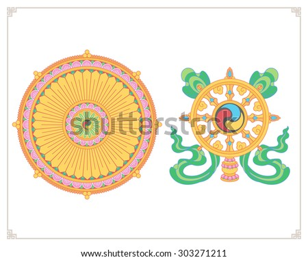 Dharma Wheel, Dharmachakra Icons. Wheel of Dharma in flat design. Buddhism symbols. Symbol of Buddha's teachings on the path to enlightenment, liberation from the karmic rebirth in samsara. - stock vector