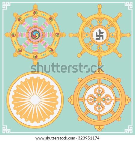 dharma wheel dharmachakra icons wheel dharmaのベクター画像素材
