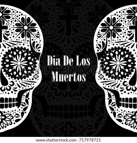 Dia de los muertos greeting card stock vector 717978721 shutterstock dia de los muertos greeting card invitation mexican day of the dead handmade m4hsunfo