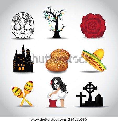 Dia de Muertos Day of the dead icon set EPS 10 vector - stock vector