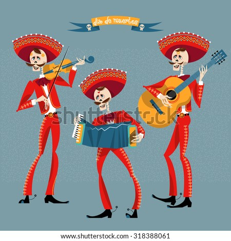 Dia de Muertos. Mariachi band of skeletons. Mexican tradition. Vector illustration - stock vector