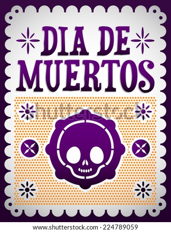 Dia de Muertos - Mexican Day of the death spanish text vector decoration  - stock vector