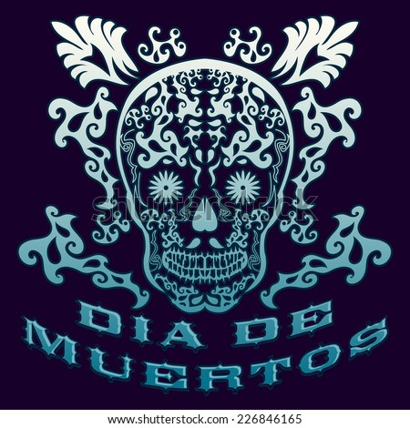 Dia de Muertos - Mexican Day of the death spanish text vintage vector decoration - stock vector