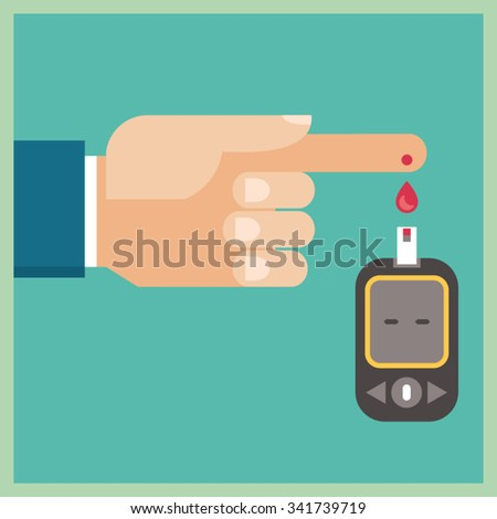 Diabetes Blood Glucose Test - Hand applying blood drop to test strip of Glucometer - stock vector