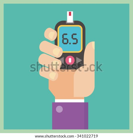 Diabetes flat icon - Blood Glucose Test - Hand holding Glucometer - stock vector
