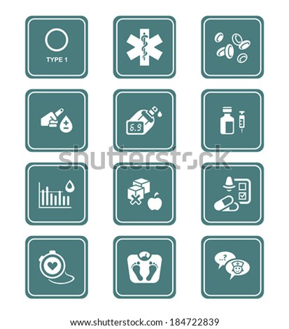 Diabetes health-care life teal icon-set - stock vector