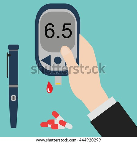 Diabetes icon and vector. Blood Glucose Test - Hand holding Glucose Meter. - stock vector