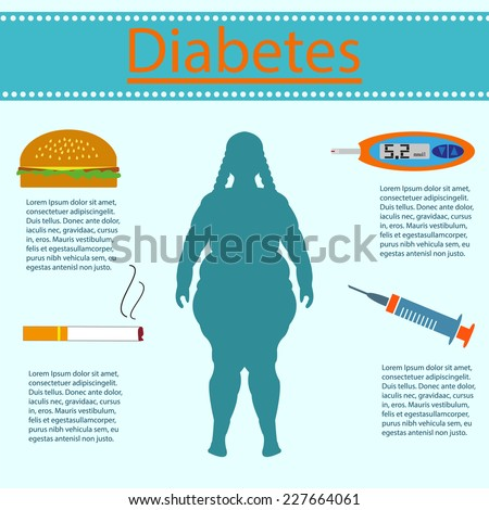 Diabetes is a woman on a blue background - stock vector