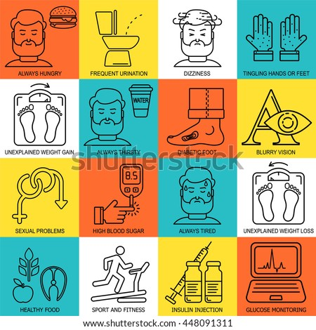 Diabetes symptoms and control vector background with line style icons. Frequent urination, blurry vision, sexual problems, high blood sugar, hungry linear illustrations. Diabetic pattern.