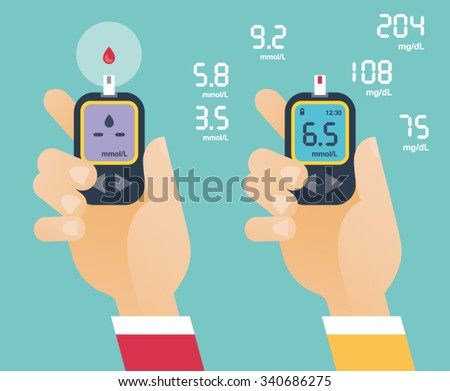 Diabetes Treatment Concept - Two Hands holding Glucometer with blood glucose levels - stock vector