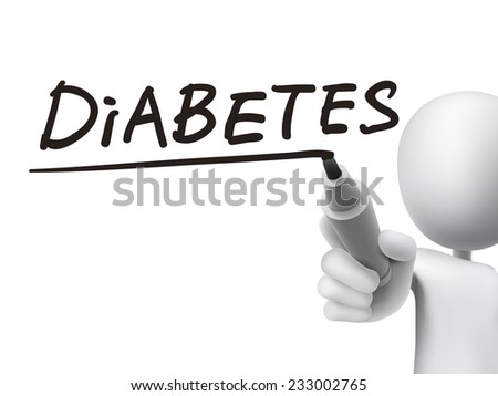 diabetes word written by 3d man over transparent board - stock vector