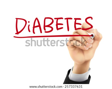 diabetes word written by hand on a transparent board - stock vector