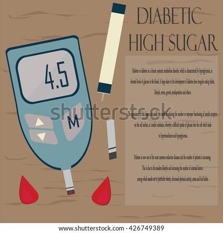 Diabetic. High sugar. Medical background. Vector backdrop. Diabetes Blood Glucose Test. Medical flat illustration. - stock vector