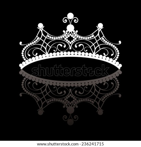 Diadem. elegance feminine tiara with reflection. in white colour isolated on black background. vector illustration.  - stock vector