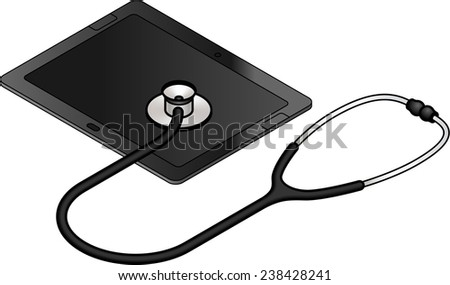 Diagnosis and analysis concept: tablet repair and troubleshooting.