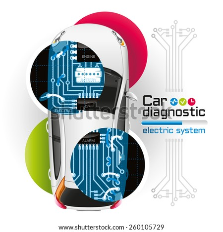Diagnosis of electrical components of the car in the form of printed circuit board is illuminated by X-rays. - stock vector