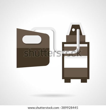 Diagnostic sensor for measuring composition and substances in the exhaust. Car services equipment. Flat color style vector icon. Web design element for site, mobile and business. - stock vector