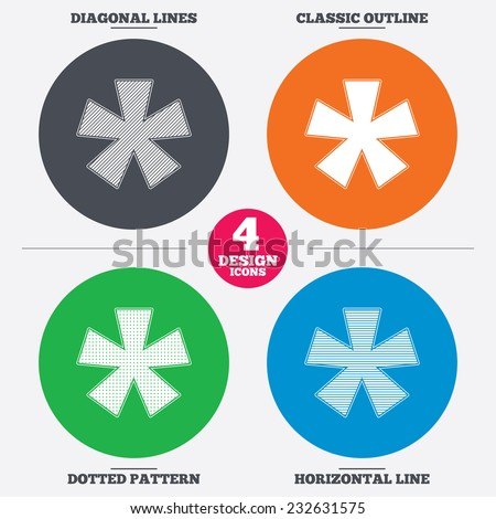 Diagonal and horizontal lines, classic outline, dotted texture. Asterisk footnote sign icon. Star note symbol for more information. Pattern circles. Vector - stock vector
