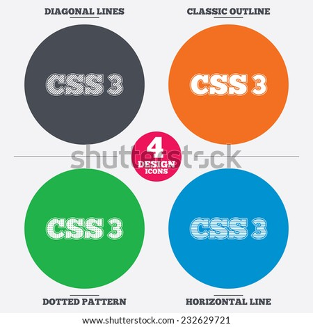 Diagonal and horizontal lines, classic outline, dotted texture. CSS3 sign icon. Cascading Style Sheets symbol. Pattern circles. Vector