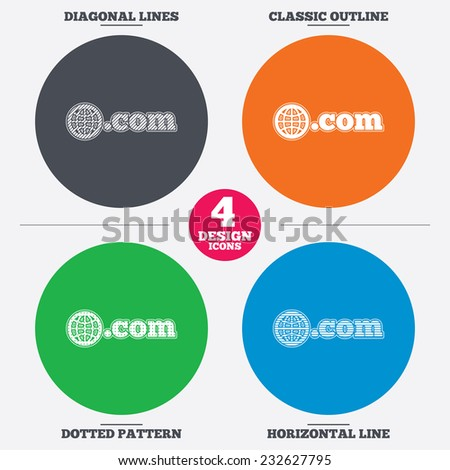 Diagonal and horizontal lines, classic outline, dotted texture. Domain COM sign icon. Top-level internet domain symbol with globe. Pattern circles. Vector - stock vector