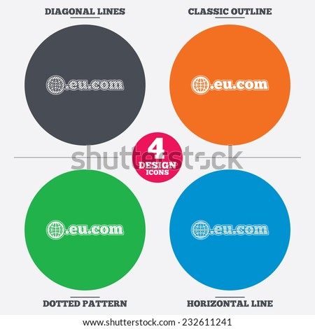 Diagonal and horizontal lines, classic outline, dotted texture. Domain EU.COM sign icon. Internet subdomain symbol with globe. Pattern circles. Vector - stock vector