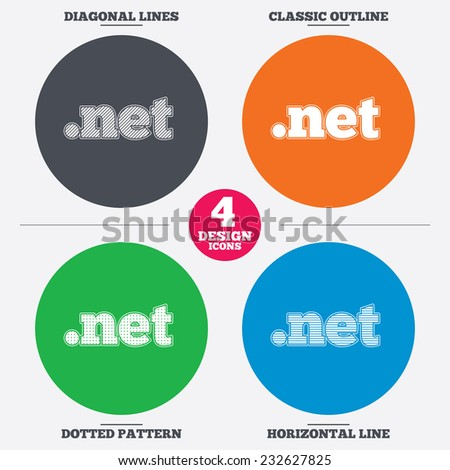 Diagonal and horizontal lines, classic outline, dotted texture. Domain NET sign icon. Top-level internet domain symbol. Pattern circles. Vector