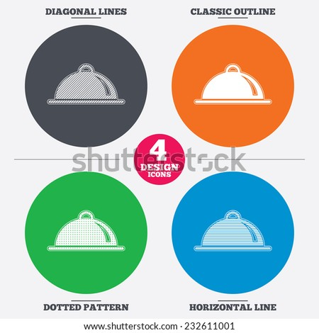 Diagonal and horizontal lines, classic outline, dotted texture. Food platter serving sign icon. Table setting in restaurant symbol. Pattern circles. Vector - stock vector