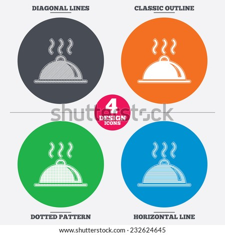 Diagonal and horizontal lines, classic outline, dotted texture. Food platter serving sign icon. Table setting in restaurant symbol. Hot warm meal. Pattern circles. Vector - stock vector