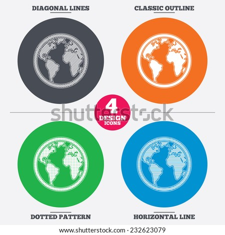 Diagonal and horizontal lines, classic outline, dotted texture. Globe sign icon. World map geography symbol. Pattern circles. Vector - stock vector