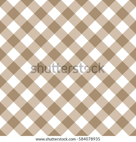 Diagonal Brown Seamless Table Cloth With Plaid Gingham Picnic Pattern.